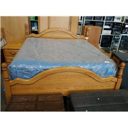 SOLID OAK KING SIZE BEDROOM SUITE INCLUDING DRESSER MIRROR, ARMOIRE, BOOK SHELF, PAIR OF