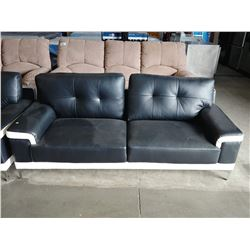 3 PIECE BLACK & WHITE SOFA SET INCLUDING PAIR OF LOVESEATS AND CHAIR