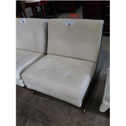 MODERN WHITE LEATHER METAL ACCENT CHAIR