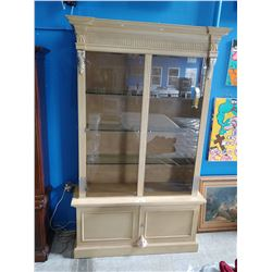 2 PIECE ETHAN ALLEN GLASS DOOR LEATHER DISPLAY CABINET (RETAIL VALUE $12,000)