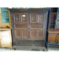 ANTIQUE 19TH CENTURY ENGLISH OAK PANELED ENTERTAINMENT UNIT