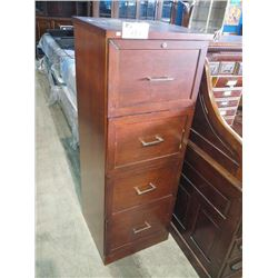 MODERN 4 DRAWER SOLID MAHOGANY FILING CABINET