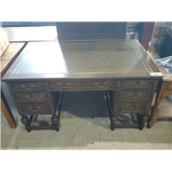 ANTIQUE OAK LEATHER INLAY WRITING DESK