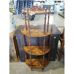 ANTIQUE VICTORIAN INLAID ROSEWOOD 4 TIER STAND