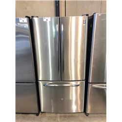 SCRATCH & DENT GE PROFILE STAINLESS AND BLACK FRENCH DOOR FRIDGE WITH ROLL OUT FREEZER