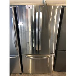 SCRATCH & DENT STAINLESS STEEL AND GREY LG INVERTER LINEAR FRENCH DOOR FRIDGE WITH ROLL OUT FREEZER