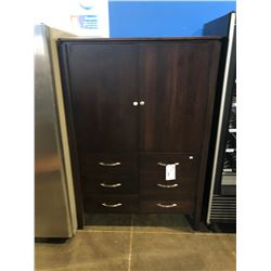 MAHOGANY COLOR 2 DOOR 6 DRAWER ENTERTAINMENT ARMOIRE