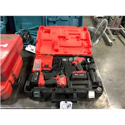 MILWAUKEE M18 CORDLESS DRILL SET IN CASE WITH DRILL, DRIVER, 2 BATTERIES & CHARGER
