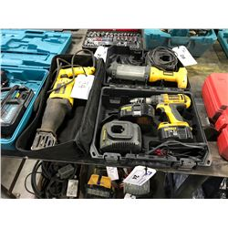 DEWALT CORDLESS DRILL KIT IN CASE WITH DRILL, 3 BATTERIES, 2 CHARGERS, WORK LIGHT & CORDED