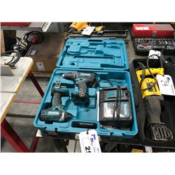 MAKITA 18V CORDLESS DRILL SET IN CASE WITH DRILL, DRIVER & CHARGER ( NO BATTERY )