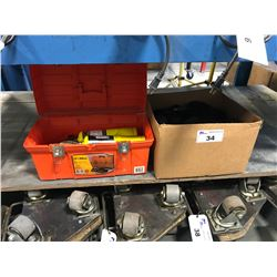 TOOL BOX OF PROPANE TORCHES & BOX OF CANVEY SUN GLASSES IN CASES