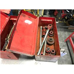 RED TOOL BOX WITH ASSORTED RIDGID HAND PIPE THREADERS & HEADS