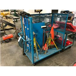 BLUE MOBILE PRODUCT CART WITH PIPE STANDS, TRAFFIC CONES & METAL