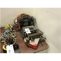 BOOSTER PACK, BATTERY CHARGER, 2 LIFTING HOOKS & JUMPER CABLES