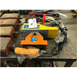 POWERFIST 220/440 POUND ELECTRIC CABLE HOIST WITH TROLLEY