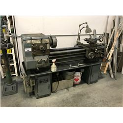 "STOREBRO BRUT GK-185/12 58"" HORIZONTAL METAL LATHE WITH GREEN 2 DRAWER, 2 DOOR WORK BENCH  WITH"