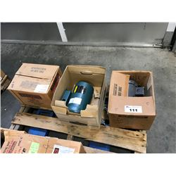 2  BALDOR ELECTRIC 1/2 HP & 1 SINGLE  HP MOTORS