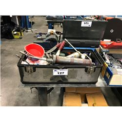 TOOL BOX WITH GREASE GUNS AND ASSORTED CONTENT