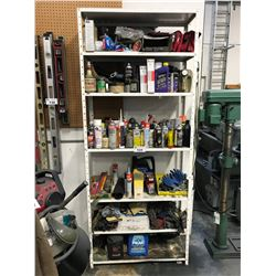 WHITE METAL SHELF OF ASSORTED FLUIDS AND COMPOUNDS