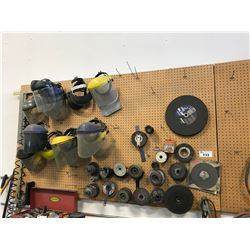 ASSORTED LARGE TOOLS, BROOMS, FRAME JACK & CONTENTS OF PEG BOARD INCLUDING: FACE SHIELDS, GRINDING