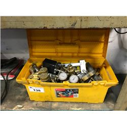 YELLOW TOOL BOX WITH ASSORTED TORCH REGULATORS