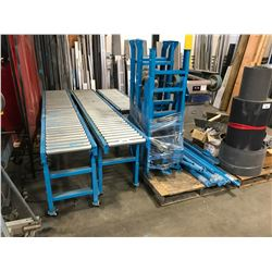 """2 - 114"""" LONG BLUE MOBILE ROLLER CONVEYOR & 1 - 66"""" LONG WITH ASSORTED PARTS, BRACES & LEGS"""
