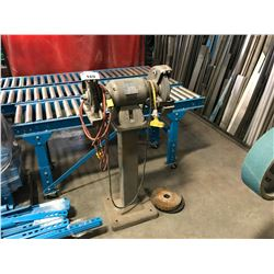 BALDOR SINGLE HORSE POWER DUAL BENCH GRINDER ON STAND