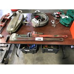 PAIR OF INDUSTRIAL PIPE WRENCHES