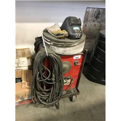 LINCOLN ELECTRIC IDEALARC 250 WELDER WITH FACE MASK, GLOVES & WIRE