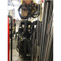 ASSORTED WELDING CABLES, LIFTING CABLE, CHAINS, ELECTRICAL CABLE, & CONVEYOR BELT LOCATED PALLET
