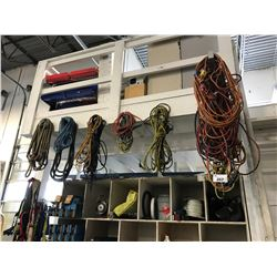 ASSORTED EXTENSION CABLES, ROPES, TOOLS, FLUIDS, CONVEYOR PARTS LOCATED ON AND UNDER MEZZANINE