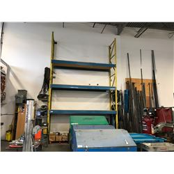 2 YELLOW PALLET RACKING UPRIGHTS, 6 BLUE HEAVY DUTY CROSS BARS, & PLY WOOD