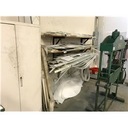 ASSORTED PLASTIC SHEETS & STRIPPING LOCATED NEAR UPPER OFFICE STAIRS