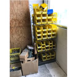 2 PART SHELVES, BINS, CHAINS, &TOOL BOX LOCATED ON MEZZANINE