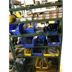 2 SHELVES OF ELECTRICAL CONVEYOR PARTS, CASTERS, & PAINT