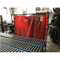 2 RED WELDING SCREENS & JANITORIAL CABINET WITH CONTENTS