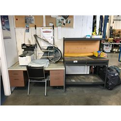 CONTENTS OF LUNCH ROOM INCLUDING WORK BENCH, DESK, MICROWAVE, REFRIGERATOR, COFFEE MAKER, TOASTER,