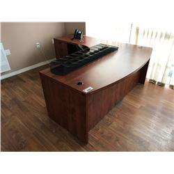 AUTUMN MAPLE BOW FRONT SINGLE PEDESTAL L-SHAPED DESK