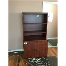 AUTUMN MAPLE 2 DRAWER LATERAL FILE CABINET WITH HUTCH & CONTENTS
