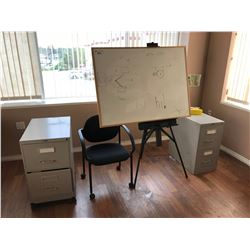 EASEL WHITE BOARD, 2 GREY 2 DRAWER FILE CABINETS & MOBILE OFFICE CHAIR