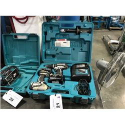 MAKITA 18V CORDLESS DRILL SET IN CASE WITH DRILL, DRIVER, 2 BATTERIES & CHARGER