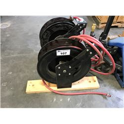 BLACK INDUSTRIAL HOSE REEL WITH RED HOSE