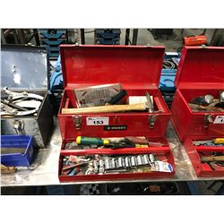 RED HUSKY TOOL BOX AND CONTENTS