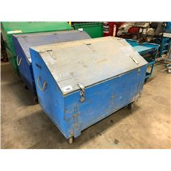 BLUE WOODEN MOBILE SITE JOB TOOL BOX