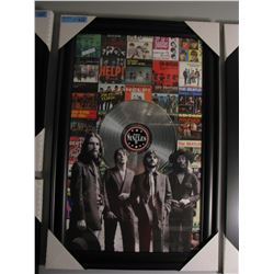 FRAMED THE BEATLES ALBUM COVER COLLAGE W/ LP