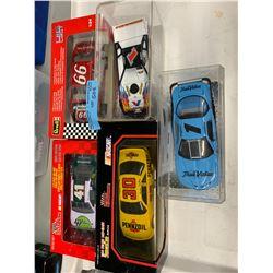 5 X RACE CAR AND NASCAR DIE CAST MODEL CARS