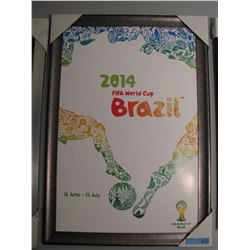 FRAMED 2014 FIFA WORLD CUP BRAZIL POSTER