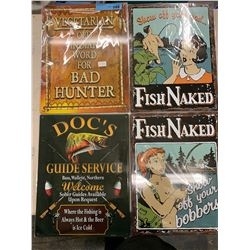 "4 X  (17"" X 13"")  HUNTING/FISHING TIN SIGNS"