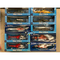 10 X SKY PILOT DIE CAST METAL HELICOPTERS
