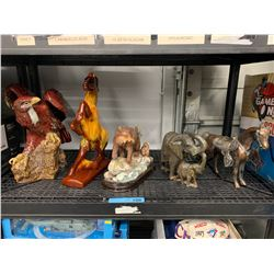 SHELF LOT OF SCULPTURES